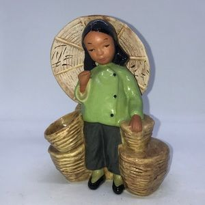 Vintage CA Pottery Asian Girl Planter, Dated 1945